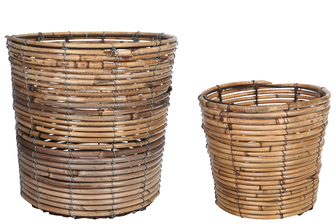 UTC56121 Bamboo Round Wooven Basket with Spiral Weave Design Body SM Set of Two Natural Finish Light Brown