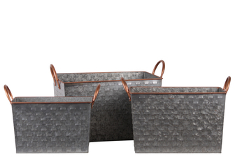 UTC56200 Metal Rectangular Basket with 2 Painted Copper Side Handles and Vented Pattern Body Set of Three Galvanized Finish Gray