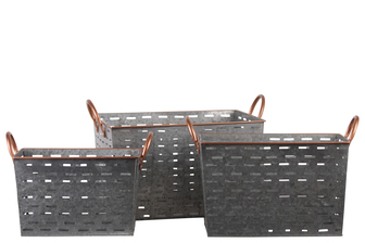 UTC56201 Metal Rectangular Basket with 2 Painted Copper Side Handles and Rim,and Cutout Pattern Set of Three Galvanized Finish Gray