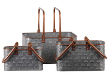 UTC56202 Metal Rectangular Basket with Copper Rounded Edge Rim and Handles,and Vented Pattern Body Set of Three Galvanized Finish Gray