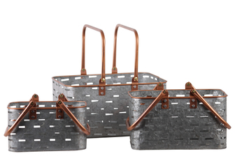 UTC56203 Metal Rectangular Basket with Copper Rounded Edge Rim and Handles,and Cutout Pattern Set of Three Galvanized Finish Gray