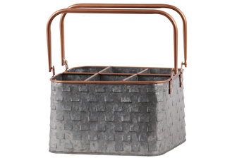 UTC56204 Metal Rectangular Caddy with 2 Copper Handles, Rim and Rounded Edges, 6 Slots, and Vented Pattern Body Galvanized Finish Gray