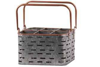 UTC56205 Metal Rectangular Caddy with 2 Copper Handles, Rim and Rounded Edges, 6 Slots, and Cutout Pattern Body Galvanized Finish Gray