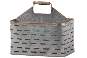 UTC56207 Metal Rectangular Caddy with Wood Handle, Copper Rim and Rounded Edges, 4 Slots, and Cutout Pattern Body Galvanized Finish Gray