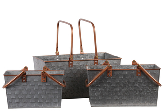 UTC56208 Metal Rectangular Basket with 2 Copper Handles and Rim, and Vented Pattern Body Set of Three Galvanized Finish Gray