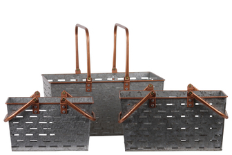 UTC56209 Metal Rectangular Basket with 2 Copper Handles and Rim, and Cutout Pattern Body Set of Three Galvanized Finish Gray