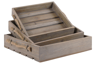 UTC56401 Wood Square Tray with Screwed Rope Side Handles and Cutout Surface Set of Three Natural Finish Brown
