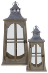 UTC56404 Metal Square Lantern with Metal Pierced Finial Top, Ring Handle, Window Pane Design Body and Flared Bottom Set of Two Natural Finish Brown