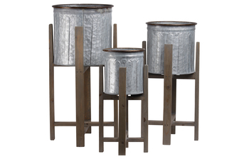 UTC56411 Metal Round Planter with Copper Rim Mouth and Rounded Edges, Vented Pattern Design Body and Wooden Detachable Leg Stand Set of Three Galvanized Finish Gray