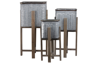 UTC56412 Metal Square Planter with Copper Rim Mouth and Rounded Edges, Vented Pattern Design Body and Wooden Detachable Leg Stand Set of Three Galvanized Finish Gray