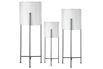 UTC56415 Metal Round Planter with Gold Lip, Corrugated Design Body and Black Removable Tri-Stand Set of Three Coated Finish Ivory