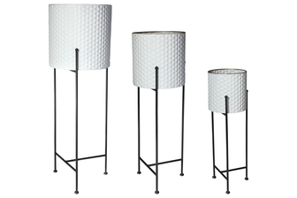 UTC56416 Metal Round Planter with Corrugated Design Body and Removable Tri-Stand Set of Three Coated Finish White