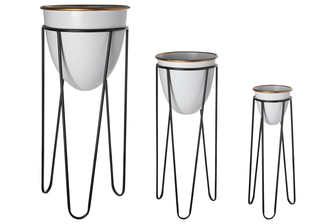 UTC56417 Metal Round Removable Cone Planter with Gold Lip on Black Tripod Stand Set of Three Painted Finish White