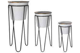 UTC56418 Metal Round Removable Basin Planter with Gold Lip and Embossed Dotted Pattern Design Body on Black Tripod Stand Set of Three Painted Finish White
