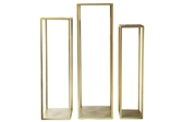 UTC56427 Metal Square Flower Stand with Quadpod Corner Columns on Flat Base Metallic Finish Gold