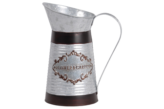 UTC56602 Zinc Round Milk Jug with Painted Black Banded Rim Top and Bottom and Ribbed Design Body Galvanized Finish Silver