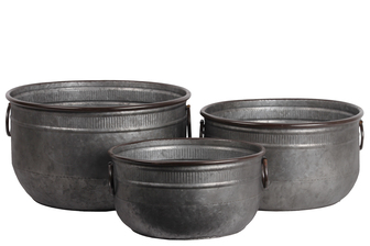 UTC56604 Zinc Wide Round Bucket with Rust Effect Edges and Ring Side Handles Set of Three Galvanized Finish Gunmetal Gray