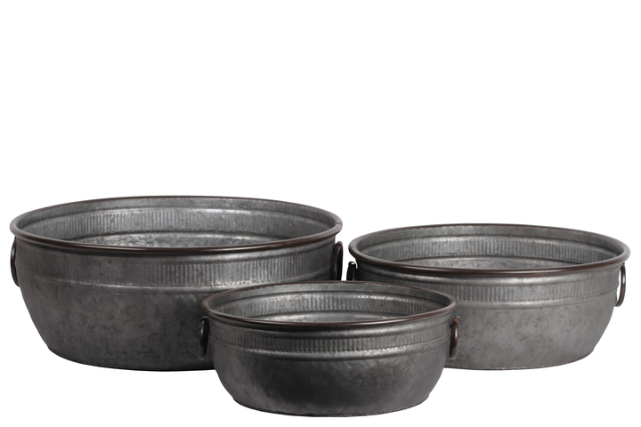 UTC56605 Zinc Low Wide Round Bucket with Rust Effect Edges and Ring Side Handles Set of Three Galvanized Finish Gunmetal Gray