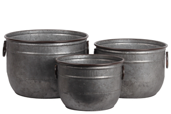 UTC56606 Zinc Round Bucket with Rust Effect Edges and Ring Side Handles Set of Three Galvanized Finish Gunmetal Gray