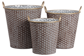 UTC56607 Zinc Round Bucket with Painted Gold Side Handles and Lip and Rust Effect Honeycomb Design Body Set of Three Galvanized Finish Silver