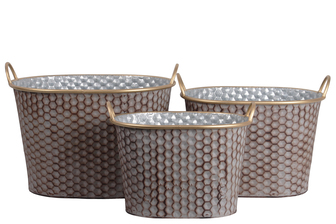 UTC56608 Zinc Oblong Bucket with Painted Gold Side Handles and Lip and Rust Effect Honeycomb Design Body Set of Three Galvanized Finish Silver