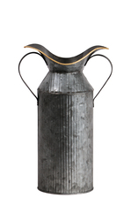 UTC56610 Zinc Round Milk Jug with 2 Side Handles and Ribbed Design Body SM Galvanized Finish Gunmetal Gray
