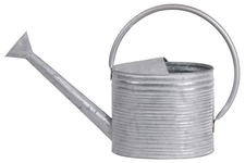 UTC56613 Zinc Watering Can with Half Open Top Ribbed Design Body Galvanized Finish Silver
