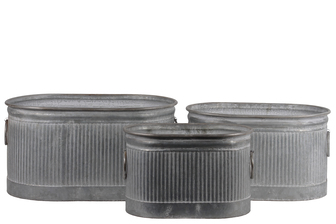UTC56800 Zinc Oval Storage Bin with Side Ring Handles and Ribbed Design Body Set of Three Washed Finish Gray