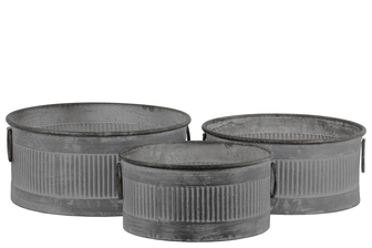UTC56801 Zinc Round Storage Bin with Side Ring Handles and Ribbed Design Body Set of Three Washed Finish Gray