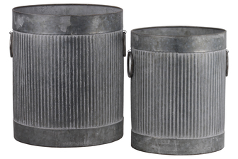 UTC56805 Zinc Cylindrical Storage Bin with Side Ring Handles and Ribbed Design Body Set of Two Washed Finish Gray