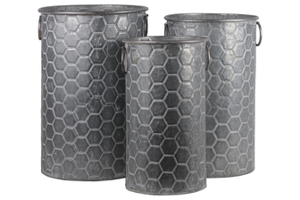 UTC56806 Zinc Cylindrical Storage Bin with Side Ring Handles and Honeycomb Design Body Set of Three Washed Finish Gray