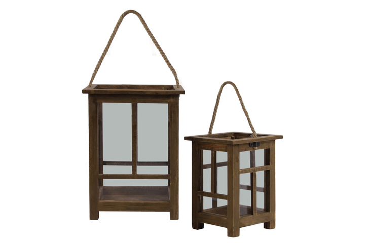 "UTC56902 Wood Square Lantern with Rope Handle, Inverted ""T"" Design Body and 4 Legs Set of Two Natural Finish Brown"