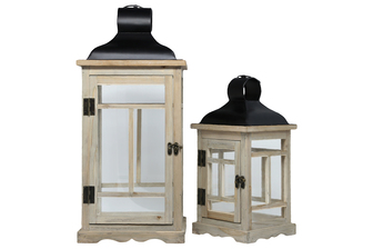 UTC56904 Wood Square Lantern with Black Painted Metal Top and Ring Hanger, Clear Glass Sides and Window Pane Design Body Set of Two Natural Finish Brown