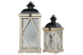 UTC56906 Wood Square Lantern with Black Painted Metal FlipTop, Ring Hanger, Clear Glass Sides and Diamond Design Body Set of Two Natural Finish Brown