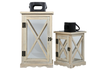 "UTC56907 Wood Square Lantern with Black Painted Metal Cap and Ring Hanger, Clear Glass Sides and ""X"" Design Body Set of Two Natural Finish Tan"