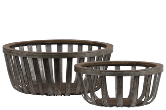 UTC57200 Metal Round Basket with Wood Lip and Surface Set of Two Galvanized Finish Gray