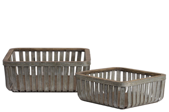 UTC57201 Metal Sqaure Basket with Wood Lip and Surface Set of Two Galvanized Finish Gray