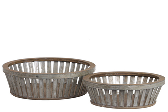 UTC57202 Metal Round Basket with Wood Lip and Surface and Tapered Bottom Set of Two Galvanized Finish Gray