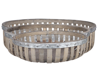 UTC57205 Wood Round Basket with Metal Banded Top and Lattice Design Body Set of Three Natural Finish Washed Gray