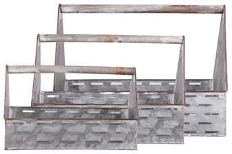 UTC57206 Metal Rectangular Caddy with Cutout Design Body and Wood Handle Set of Three Galvanized Finish Gray