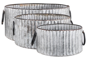 UTC57207 Metal Round Bucket with Currogated Design Body and 2 Ring Handles Set of Three Galvanized Finish Gray