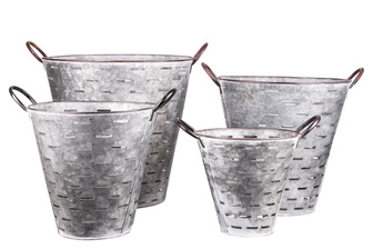 UTC57208 Metal Round Bucket with Cutout Design Body, Side Handles and Tapered Bottom Set of Four Galvanized Finish Gray