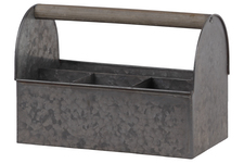 UTC57210 Zinc Rectangular Caddy with Wooden Handle and 4 Slots Galvanized Finish Gray