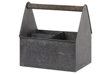 UTC57211 Zinc Rectangular Caddy with Wooden Handle and 3 Slots Galvanized Finish Gray
