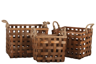 UTC57400 Wood Rectangle Basket with Rope Side Handles and Lattice Design Body Set of Three Natural Finish Brown
