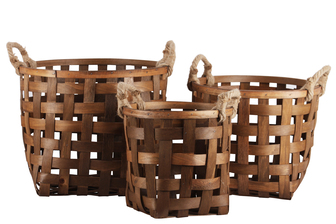 UTC57401 Wood Round Basket with Rope Side Handles and Lattice Design Body Set of Three Natural Finish Brown