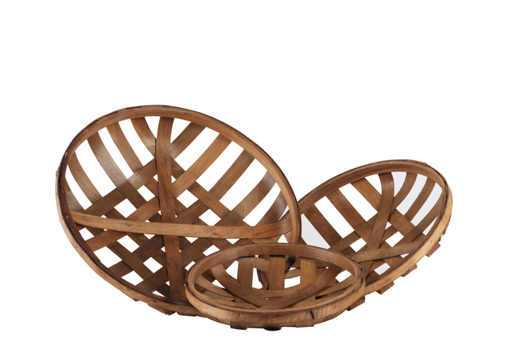 UTC57402 Wood Round Tobacco Basket with Lattice Design Set of Three Natural Finish Brown