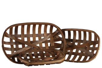 UTC57403 Wood Square Tobacco Basket with Woven Mouth Set of Three Natural Finish Brown