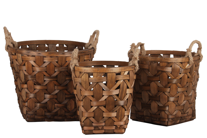 UTC57404 Wood Round Basket with Rope Side Handles and Lattice Basket Weave Design Body Set of Three Natural Finish Brown