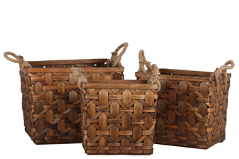 UTC57405 Wood Rectangle Basket with Rope Side Handles and Lattice Basket Weave Design Body Set of Three Natural Finish Brown